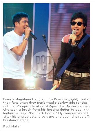 Francis Magalona sings with Ely Buendia