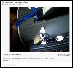 Broken Lock at Cebu Pacific Flight 5J802 on December 25, 2009 - Photo added at FB by France King-Sy