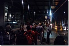 My own photo of passengers local and tourists in long lines at 5AM!