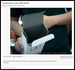 Missing Perfume at Cebu Pacific Flight 5J802 on December 25, 2009 - Photo added at FB by France King-Sy