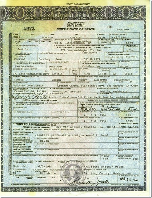 Kurt Cobain - Death Certificate