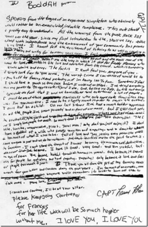 Kurt's Suicide Note