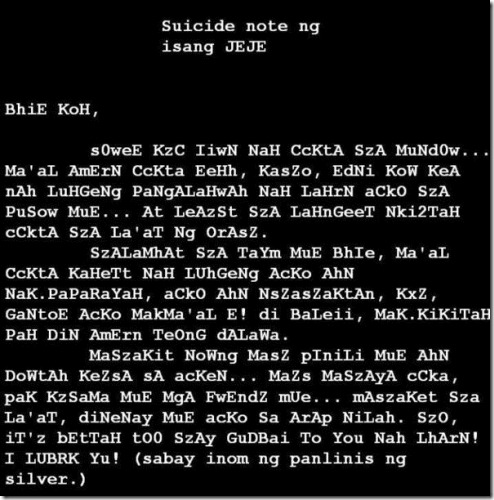 JejeMon Suicide Note