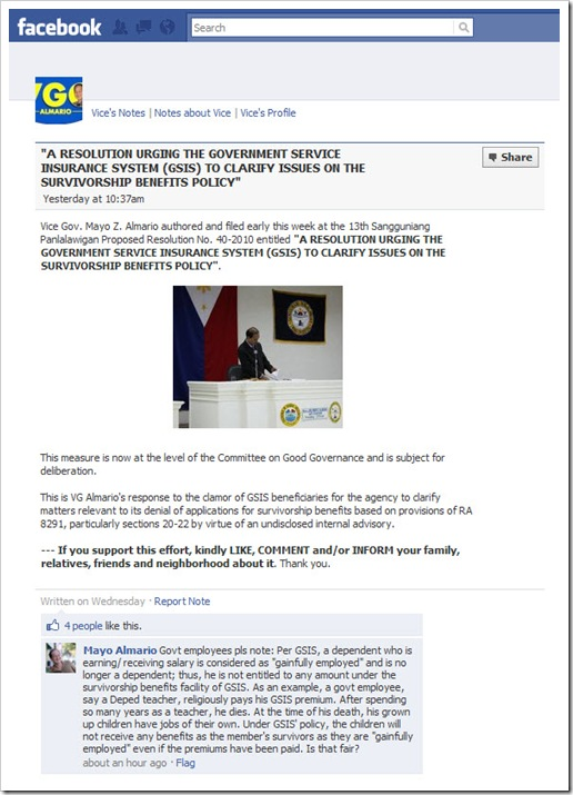 Facebook - VG Almario on GSIS